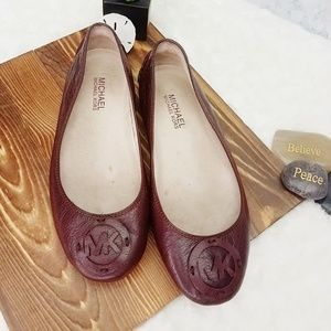 Michael Kors~ Brown Leather MK Ballet Flats